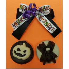 Sandwich Cookies Dipped in Chocolate w/Halloween Decor