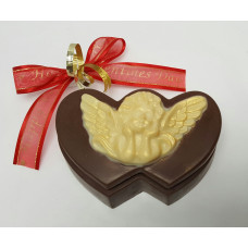 Double Heart Box w/Cherub on Lid