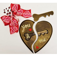 Puzzle Heart w choc/key.Hand-made