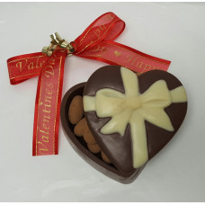 Chocolate Heart Box w/Embossed Bow