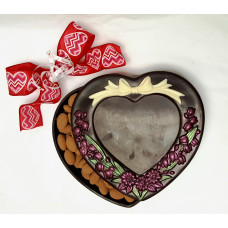 Heart Box w/Embbossed Flowers & Bow (X-Large)