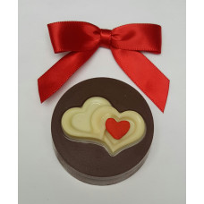 """2 Hand Painted Hearts""  Sandwich Cookie & Chocolate"