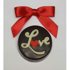 """Love"" Sandwich Cookie encased in chocolate"