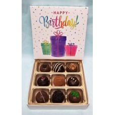 "Box of 9 Truffles ""Happy Birthday"""