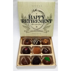 "Box of 9 Truffles ""Happy Retirement"""