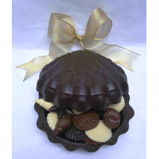 Large Chocolate Clamshell filled with assorted shells!
