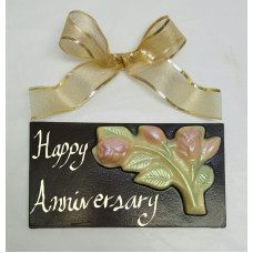 "Large Chocolate Bar ""Happy Anniversary"" with Flowers"