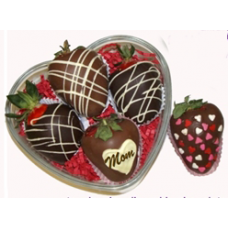 5 Strawberries Dipped in Chocolate in a Heart
