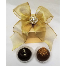 Cube 2 piece Gold Box w/2 Truffles